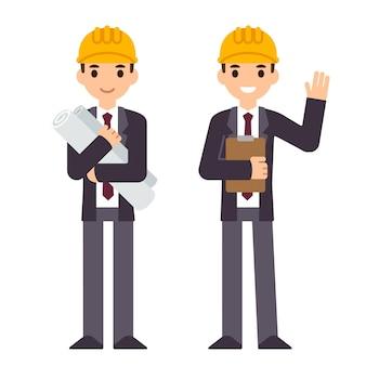 Postać inżyniera w dwóch pozach trzymająca plany budowy i machająca ręką