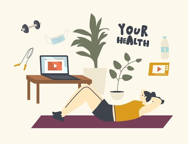 Postać kobieca leżąca na macie, robiąc rozciąganie fitness w domu podczas kwarantanny covid