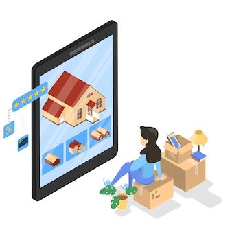 Postać kobieca siedząca na pudełku i patrząc na dom na ekranie tabletu. nowy dom online. nieruchomości i koncepcja zakupów online. ilustracja izometryczna