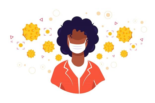 Postać kobieca w masce ochronnej