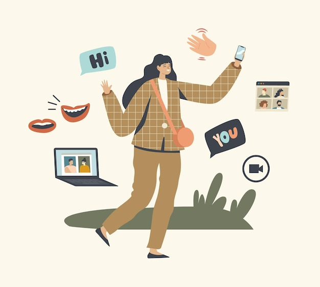 Postać kobieca wykorzystuje technologię komunikacji wideo