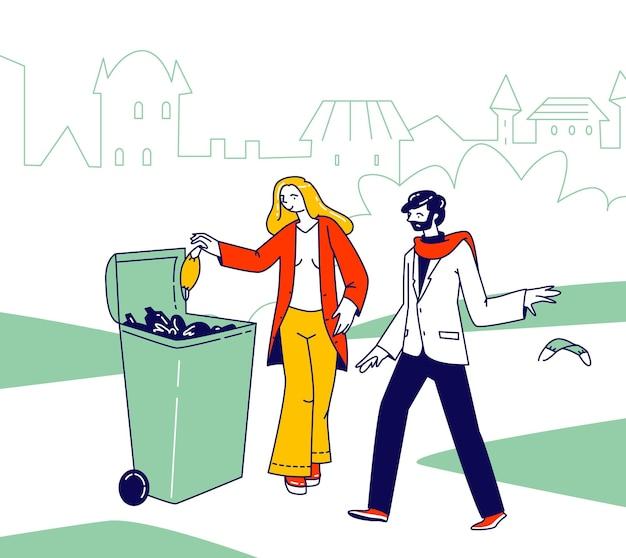 Postać kobieca wyrzuca covid odpady do kosza na śmieci. kobieta włożyła zużytą maskę medyczną do specjalnego pojemnika na świeżym powietrzu, nieodpowiedzialny mężczyzna wyrzucał zużytą maskę na ulicę. ilustracja wektorowa ludzi liniowych