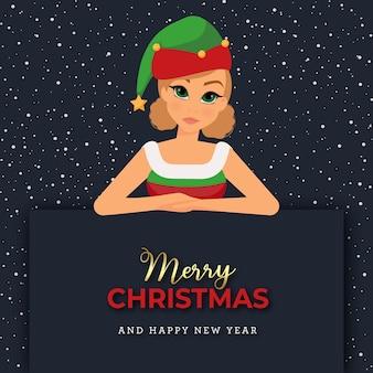 Postać kobieca z kostiumem elfa na banerze czarnej kartki świąteczne