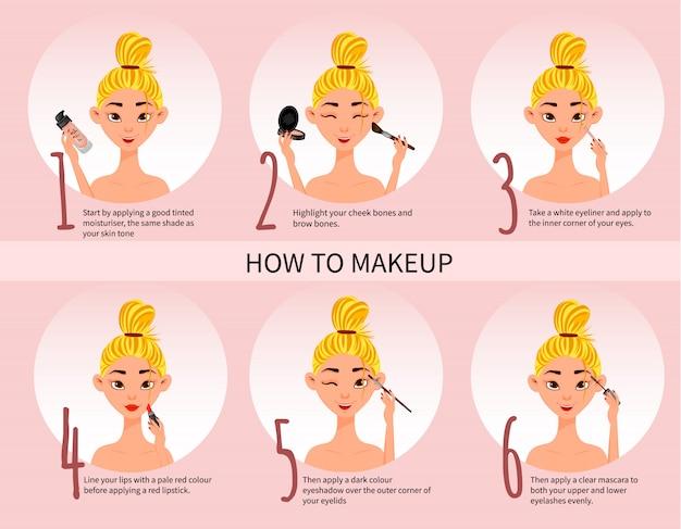 Postać kobieca ze schematem makijażu i zestawem do makijażu. styl kreskówkowy.