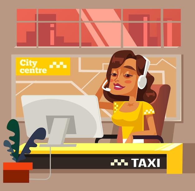 Postać kobieta biuro telefoniczne taxi.