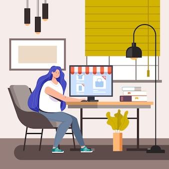 Postać kobiety dokonywania zakupów w domu laptopa
