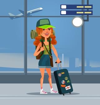 Postać kobiety podróżnika na lotnisku. ilustracja kreskówka płaska