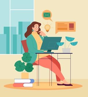 Postać kobiety pracująca, ucząca się i pozostać w domu. praca niezależna i koncepcja edukacji na odległość.
