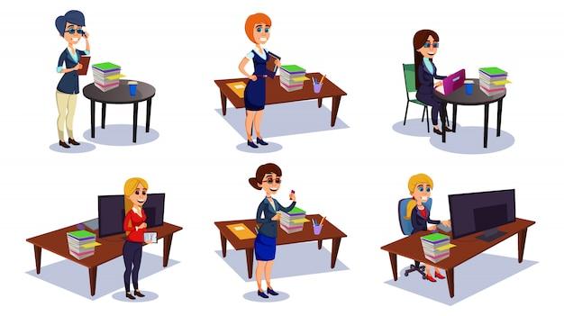 Postać kobiety pracująca w biurze, sekretarz.