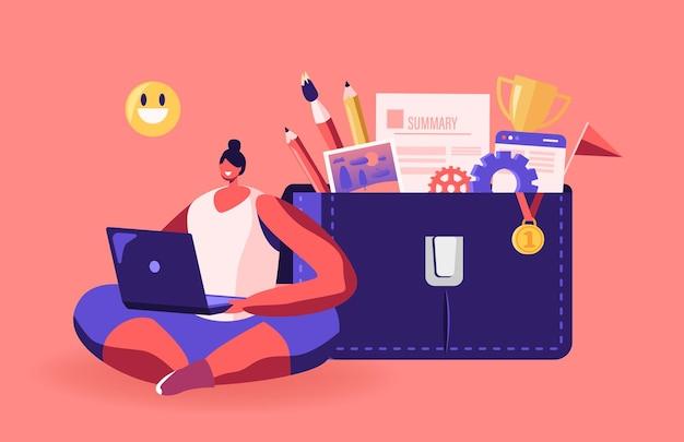 Postać kobiety pracującej na laptopie z uśmiechniętymi emotikonami nad głową, siedząca w pobliżu ogromnej torby z portfolio z różnymi narzędziami i dokumentami