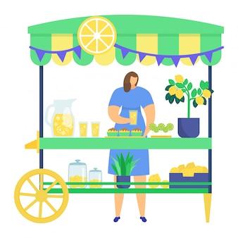 Postać kobiety sprzedająca domowej roboty lemoniadę, uliczny kiosk z drzewkiem cytrynowym, samodzielnie uprawiana limonka na białym, ilustracja.