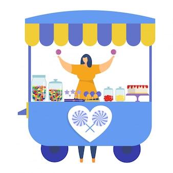 Postać kobiety sprzedaje kolorowy sklep z lizakami, targi festiwalowe w kiosku ulicznym, kobiece cukierki handlowe na białym, ilustracja.