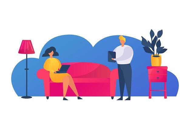 Postać kobiety trzymać cyfrowy laptop moden