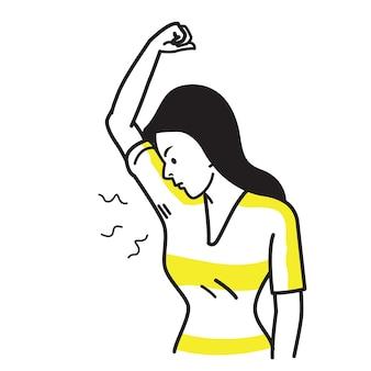 Postać kobiety wąchającej i wąchającej nieprzyjemny zapach mokrej pachy.