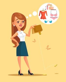 Postać kobiety wydała wszystkie swoje pieniądze, płaska ilustracja kreskówka