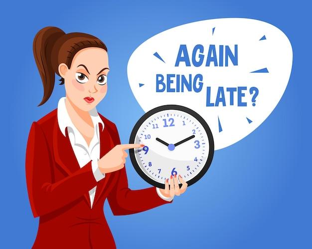 Postać kobiety z zegarem