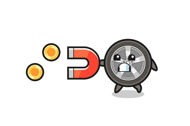 Postać koła samochodu trzyma magnes, aby złapać złote monety, ładny styl na koszulkę, naklejkę, element logo