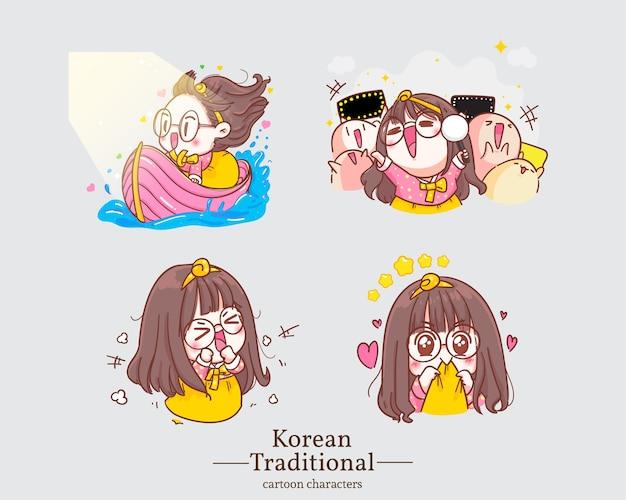 Postać koreańskich szczęśliwych uroczych dziewcząt w tradycyjnych koreańskich kreskówkach hanbok. zestaw ilustracji