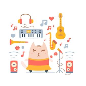 Postać kot tancerz w sukni z instrumentami muzycznymi