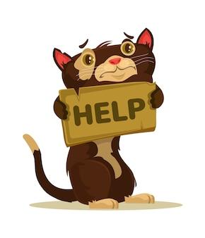 Postać kota potrzebuje domu i ilustracji pomocy