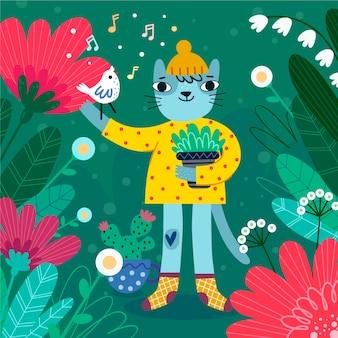 Postać kota z kapeluszem płaskie tło wiosna