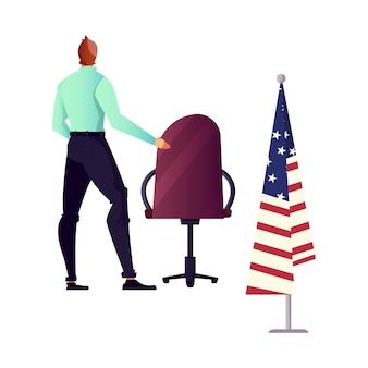 Postać krzesła polityka i amerykańską flagę na białym tle