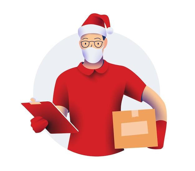 Postać kuriera lub dostawy w czerwonej koszuli i rękawiczkach i czerwonym czapce mikołaja