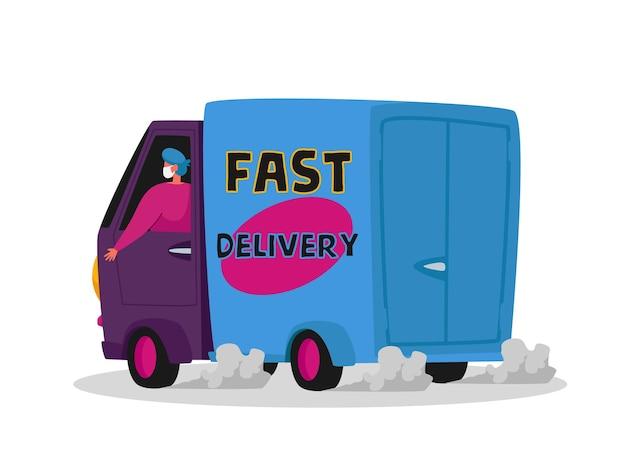 Postać kurierska dostarczająca produkty spożywcze do klienta samochodem. ekspresowa usługa dostawy podczas pandemii koronawirusa