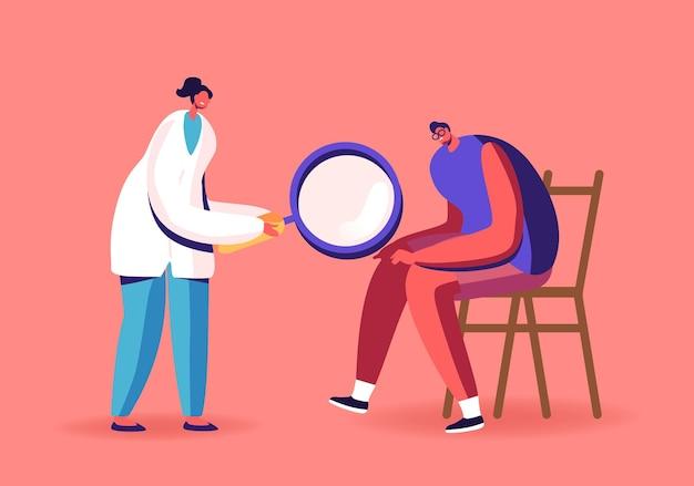 Postać lekarza artrologa z lupą zegarek na kolanie pacjenta z zapaleniem stawów