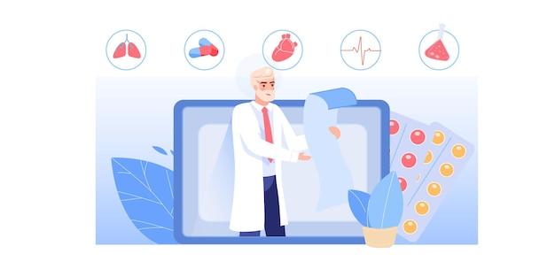 Postać lekarza czyta receptę lekarską z aplikacji na ekranie komputera