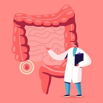 Postać lekarza lub nauczyciela medycyny stoi w ludzkich jelitach z infografiką obolałego wyrostka robaczkowego decyduj o strategii leczenia. ilustracja kreskówka