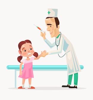 Postać lekarza robi przestraszony robi szczepienia postaci dziecka.