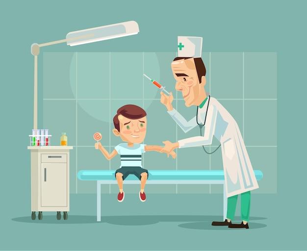 Postać lekarza robi przestraszony robi szczepienia postaci dziecka