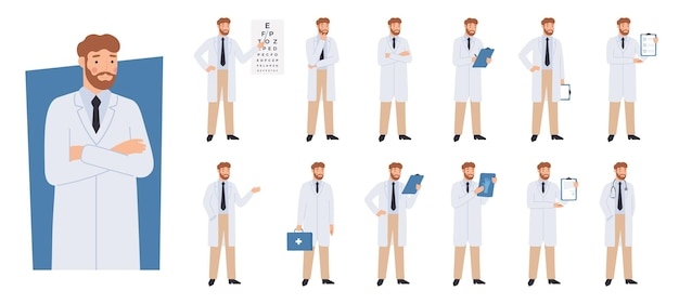 Postać lekarza w różnych pozach.