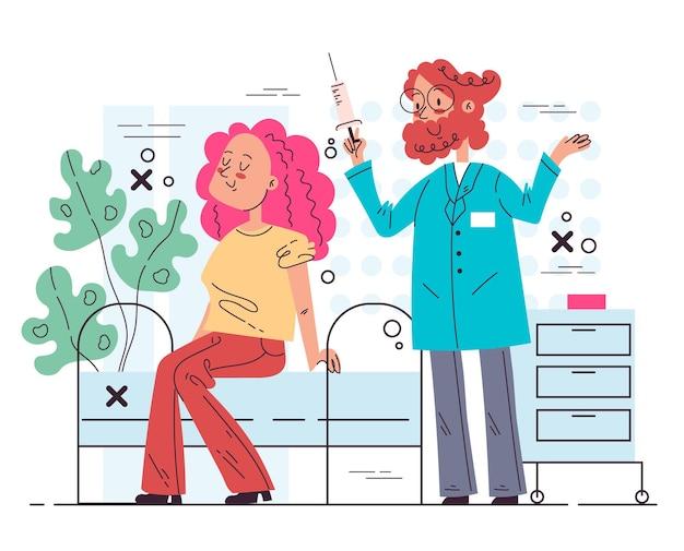 Postać lekarza wykonująca wstrzyknięcie szczepionki pacjentce