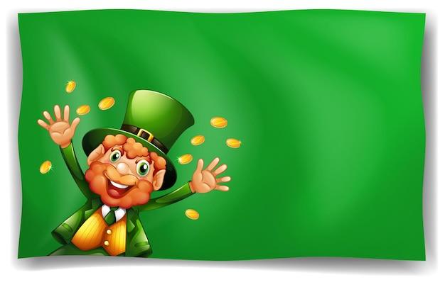 Postać leprechauna na zielonym tle