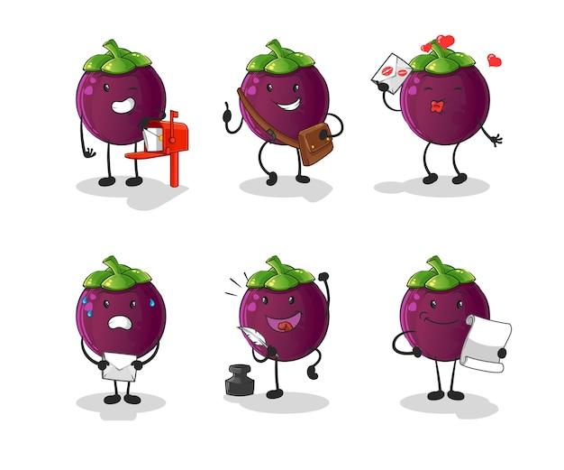 Postać listonosza z mangostanu. kreskówka maskotka