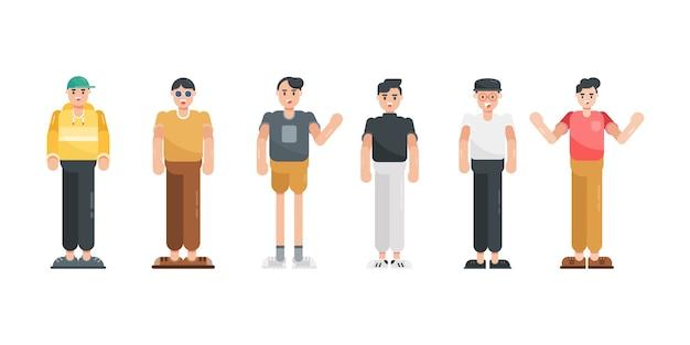 Postać ludzi w kolekcji płaska konstrukcja. nowoczesna postać z kreskówki