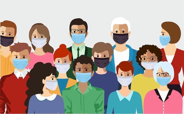 Postać ludzi w maskach. nowy koronawirus 2019-ncov, ludzie w medycznej masce na twarz. pojęcie koronawirusa