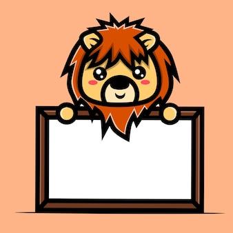 Postać lwa z dużą białą tablicą