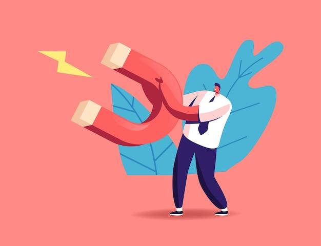 Postać małego biznesmena trzymającego ogromny magnes w dłoniach, przyciągająca nowych klientów, pieniądze i pomysły