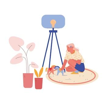 Postać małej dziewczynki z zaburzeniem autyzmu siedząca na podłodze, bawiąca się z końmi. słodkie dziecko bawiące się zabawkami w przedszkolu lub szkole dla dzieci ze specjalnymi potrzebami. kreskówka