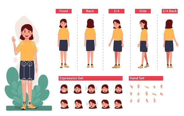 Postać małej dziewczynki z zestawem wyrażenie i ręka