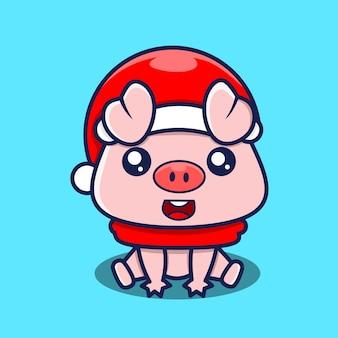 Postać małej świni siedzi na podłodze
