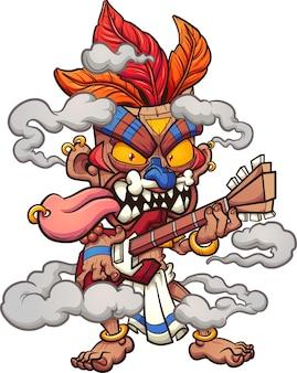 Postać maski tiki grająca na gitarze elektrycznej