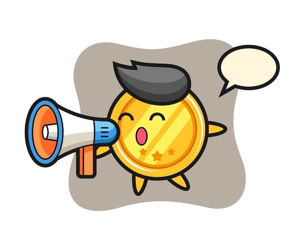 Postać medalu trzymająca megafon