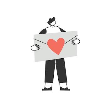 Postać mężczyzny w walentynkowej kopercie. list miłosny. walentynki. koncepcja miłości i romansu.