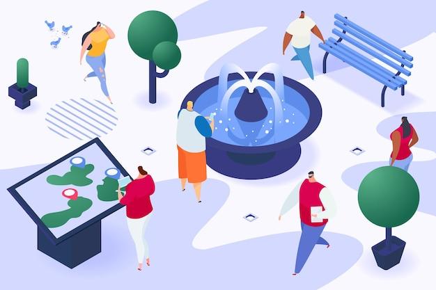 Postać mieszczan razem spacer po miejskim ogrodzie z fontanną spacer po mieście ludzie izometryczny ...