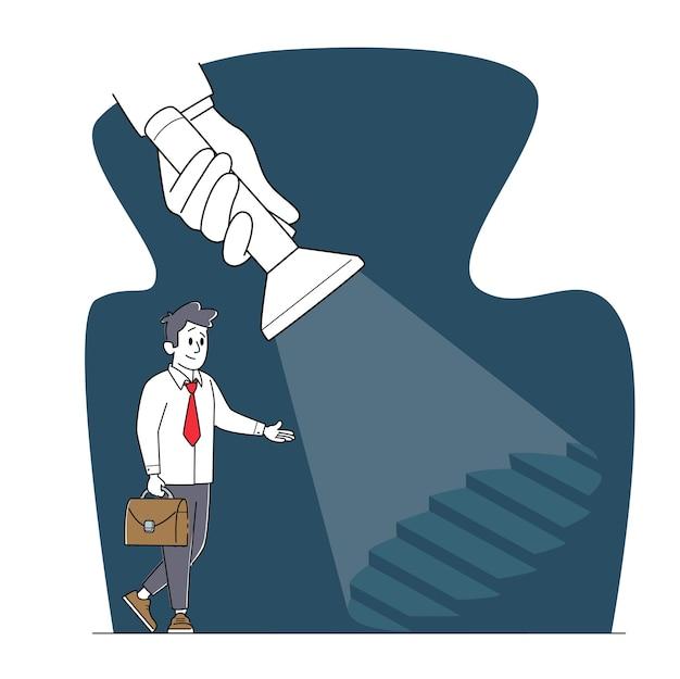 Postać młodego biznesmena w formalnym garniturze trzymając teczkę stanąć na drabinie pod ogromną latarką świecące oświetlenie
