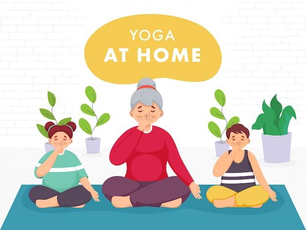 Postać młodej kobiety z dziećmi wykonującymi jogę z alternatywnym oddychaniem przez nozdrza w domu, aby zapobiec koronawirusowi.